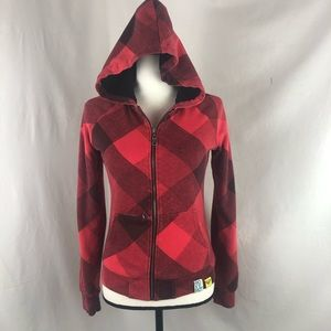ROXY red flannel hoodie jacket small EUC